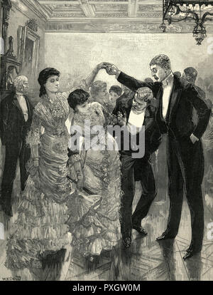 It may look like 'Oranges and Lemons' but actually they're performing the 'Sir Roger de Coverley' dance named for the fictional country squire created by Joseph Addison.     Date: 1884 - Stock Photo