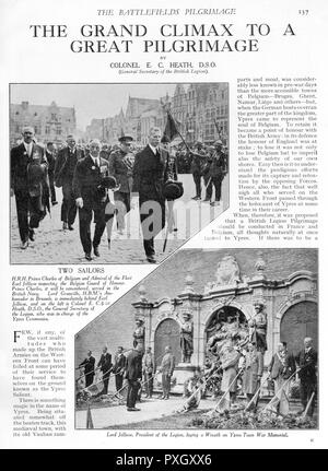 The Grand Climax of the Pilgrimage, in Ypres, Belgium. Prince Charles of Belgium and Admiral Jellicoe inspecting the Belgian Guard of Honour, together with Lord Granville and Colonel Heath (above), and Lord Jellicoe, President of the British Legion, laying a wreath on the Ypres town war memorial (below).  The pilgrimage of 11,000 people to France and Flanders was organised by the British Legion and attended by the Prince of Wales.     Date: 1928 - Stock Photo