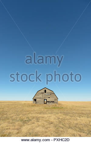 An abandoned wooden barn in the Oklahoma Panhandle is surrounded by a perfect, blue sky. - Stock Photo