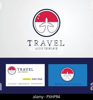 Travel Singapore Creative Circle flag Logo and Business card design - Stock Photo