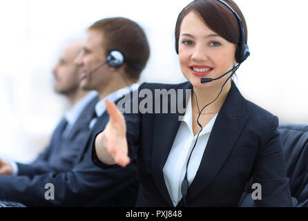 Manager of call center reaches out to shake hands.photo with copy space - Stock Photo