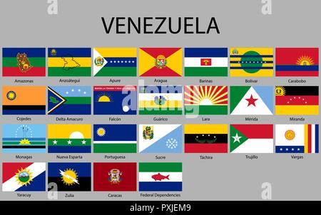 all Flags states of Venezuela. Vector illustraion - Stock Photo