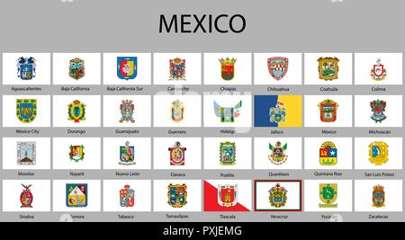 all Flags of regions of Mexico. Vector illustraion - Stock Photo