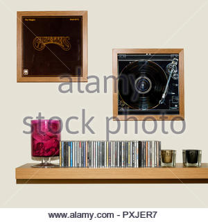 CD Collection and framed The Carpenters album The Singles 1969-1973, England - Stock Photo
