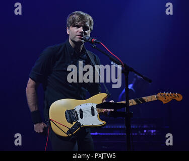 Miami Beach, FL, USA. 22nd Oct, 2018. Death Cab For Cutie performs at the Fillmore on October 22, 2018 in Miami Beach, Florida. Credit: Mpi04/Media Punch/Alamy Live News - Stock Photo