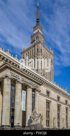 portico of the Drama Theatre at the soc-realist Russian Wedding Cake style Palace of Culture and Science, Warsaw, Poland - Stock Photo