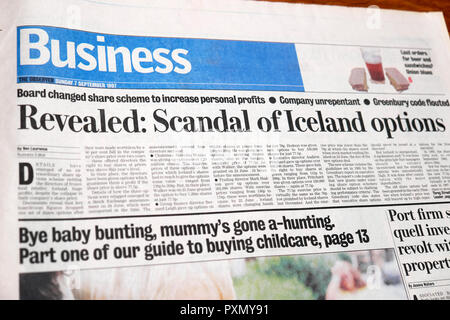 'Revealed: Scandal of Iceland options'  newspaper article in the business section of The Observer  UK September 1997 - Stock Photo