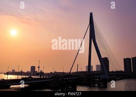 Silhouette of Erasmus Bridge (Erasmusbrug) in Rotterdam during sunset - Stock Photo