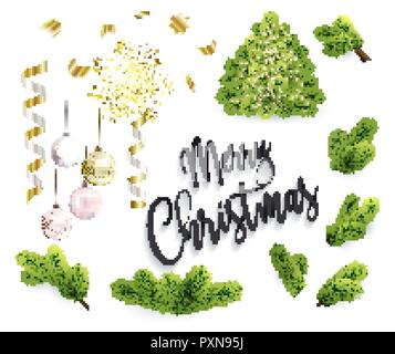 Set of Christmas objects, toys, fir tree branches - Stock Photo