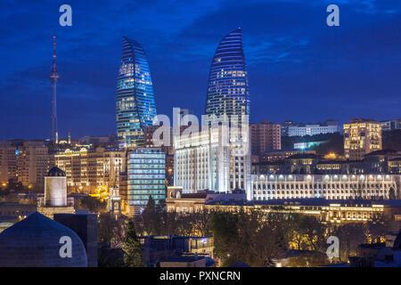 Azerbaijan, Baku, high angle skyline view with The Flame Towers - Stock Photo