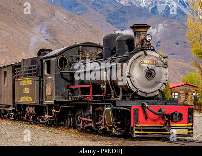 Old Patagonian Express La Trochita, steam train, Nahuel Pan Train Station, Chubut Province, Patagonia, Argentina - Stock Photo