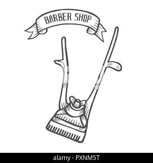 Hand drawn Mechanical hair clipper   illustration isolated on white in old vintage engraving style. Barber shop  . - Stock Photo