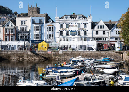 The Royal Castle Hotel overlooking the marina at Dartmouth, Devon, UK - Stock Photo
