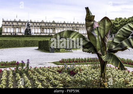 Herrenchiemsee Palace, palace gardens, Herreninsel, Chiemsee, Chiemgau, Upper Bavaria, Bavaria, Germany, Europe - Stock Photo