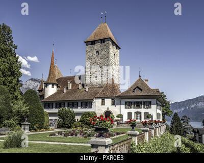 Spiez Castle, Lake Thun, Bernese Oberland, Switzerland, Europe - Stock Photo