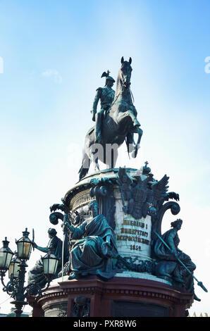 Monument to Nicholas I, Saint Isaac's Square. Saint Petersburg, Northwestern, Russia. - Stock Photo