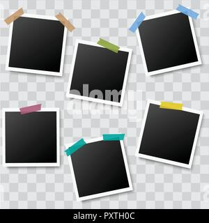 Set of realistic photo frames with adhesive tapes on transparent background. Vector. - Stock Photo