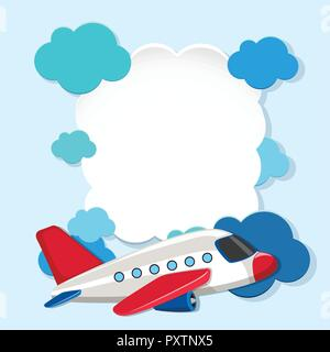 Border template with white airplane illustration - Stock Photo