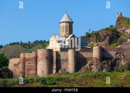 Georgia, Tbilisi, St. Nicholas' Church and Narikala Fortress - Stock Photo