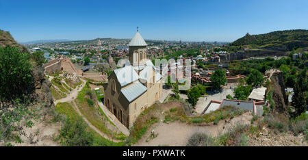 Georgia, Tbilisi, St. Nicholas' Church seen from Narikala fortress - Stock Photo