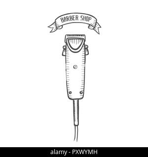 hand drawn illustration of electric hair clipper in vintage engraved style. isolated on white background. Side view. - Stock Photo