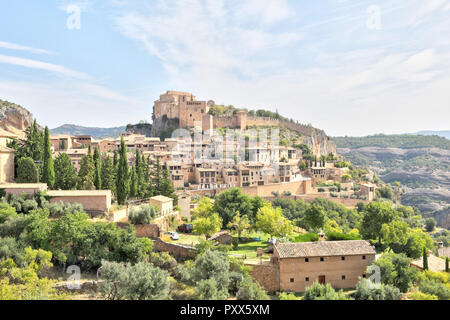 A summer  landscape of Alquezar, a small medieval rural town with a castle, a collegiate and a canyon in the Vero river, in Aragon, Spain. - Stock Photo