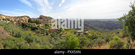 A summer landscape of Alquezar, a small medieval rural town with a castle, a collegiate and a canyon in the Vero river, in Aragon, Spain - Stock Photo