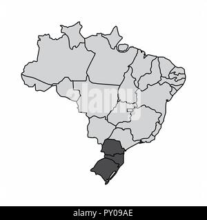 Illustration of a map of Brazil with the south region highlighted - Stock Photo