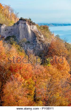 Autumn fall colour sandstone pillar on the Scarborough Bluffs an escarpment above Lake Ontario in Toronto Ontario Canada - Stock Photo