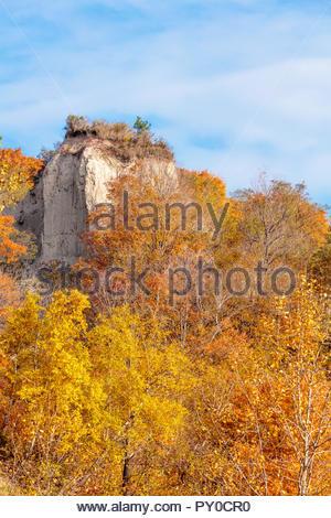 Autumn fall colour sandstone pillar on the Scarborough Bluffs an escarpment in Toronto Ontario Canada - Stock Photo