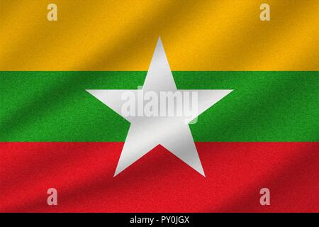 national flag of Myanmar on wavy cotton fabric. Realistic vector illustration. - Stock Photo