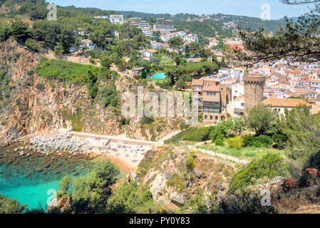 Scenic view of seaside with small beach  and Tossa de Mar town. Costa Brava, Spain - Stock Photo