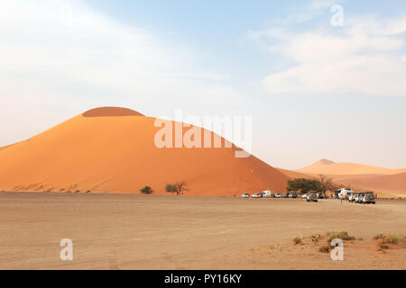 Dune 45 a well known sand dune in the Namib Desert, Sossusvlei, Namibia Africa - Stock Photo