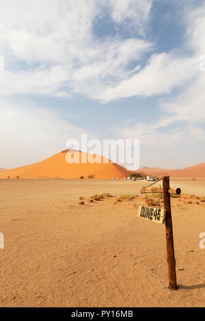 Dune 45 a well known sand dune in the Namib Desert, Sossusvlei  Namibia Africa - Stock Photo