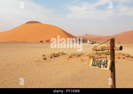 Dune 45 a well known sand dune in the Namib Desert, Sossusvlei, Namibia Africa - Stock Photo