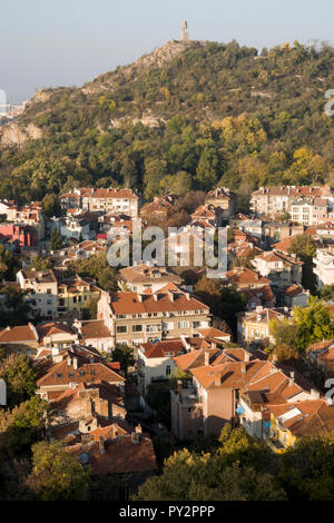 High angle scenic view of residential area and autumn trees in Plovdiv, Bulgaria - Stock Photo