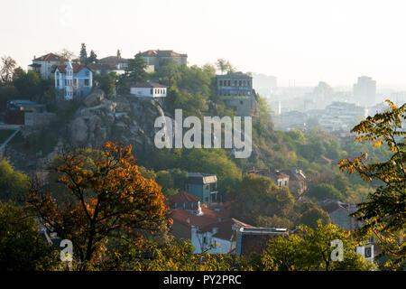 Scenic view of old town Plovdiv, Bulgaira in autumn - Stock Photo