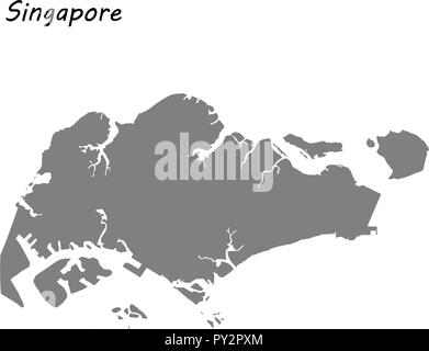 High quality map of Singapore . Vector illustration - Stock Photo