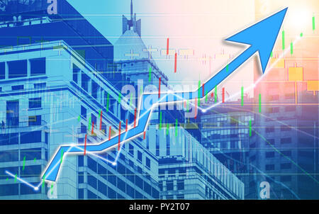 Stock index graph and chart in modern building background (blue bull chart) - Stock Photo