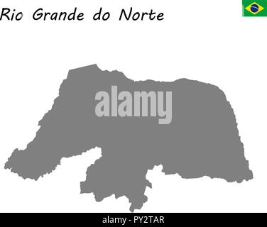 High Quality map of Rio Grande do Norte is a state of Brazil - Stock Photo