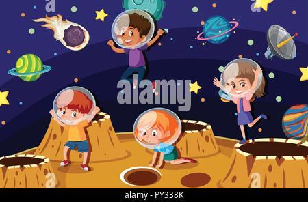 Children astronauts on a planet illustration - Stock Photo