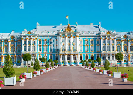Catharine Palace, from 18th century, Catherine Park, Tsarkoye Selo, near Saint Petersburg, Russia - Stock Photo