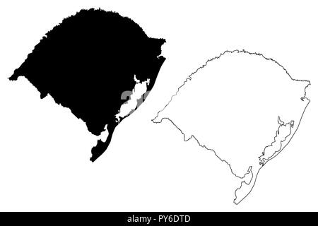 Rio Grande do Sul (Region of Brazil, Federated state, Federative Republic of Brazil) map vector illustration, scribble sketch Rio Grande do Sul map - Stock Photo
