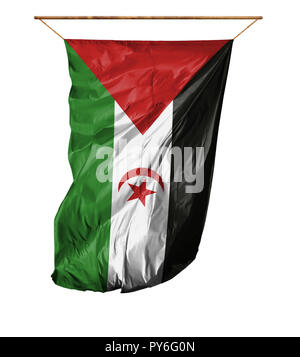 Flag of Western Sahara. Vertical flag.Isolated on a white background. - Stock Photo