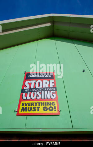 Warrington branch of Homebase has signs up stating this store is closing down - Stock Photo
