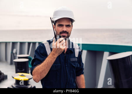 Marine Deck Officer or Chief mate on deck of vessel or ship - Stock Photo