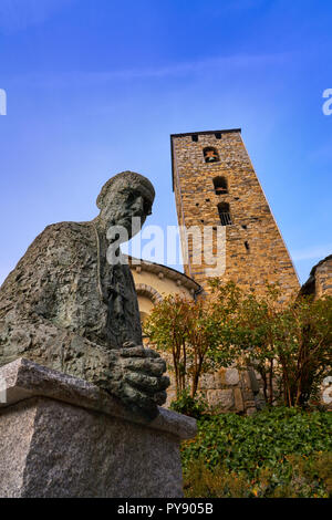 Sant Esteve church in Andorra la Vella at Pyrenees - Stock Photo