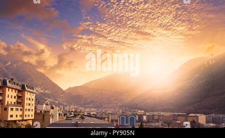 Andorra la Vella skyline in Pyrenees mountains - Stock Photo