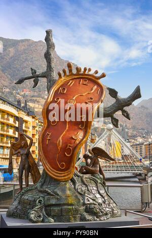Andorra la Vella Salvador Dali Noblesse du Temps sculpture in Pyrenees - Stock Photo