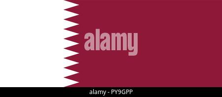 Vector image for Qatar flag. Based on the official and exact Qatari flag dimensions (28:11) & colors (1955C and White) - Stock Photo